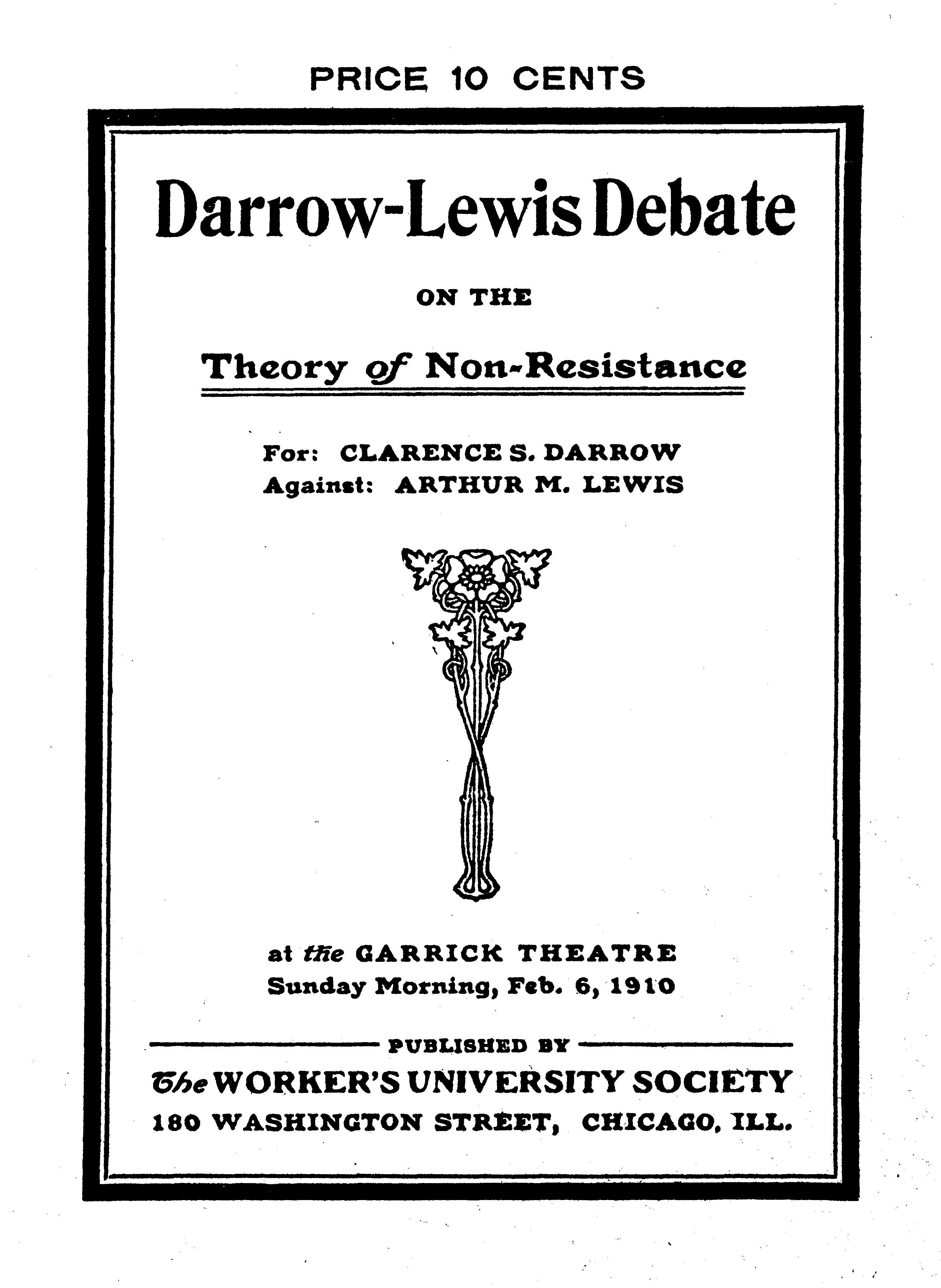Cover of: Darrow-Lewis Debate on the Theory of Non-Resistance