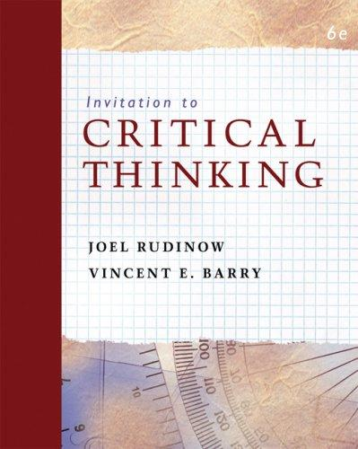 Invitation to critical thinking by